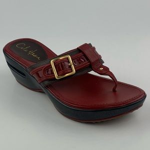 Cole Haan Air Maddy Red Leather Buckle Sandals 7B